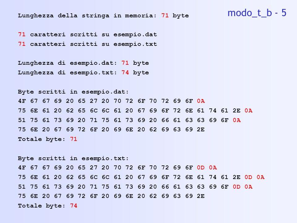 modo_t_b - 5 Lunghezza della stringa in memoria: 71 byte