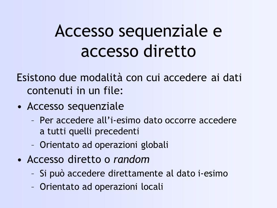 Accesso sequenziale e accesso diretto