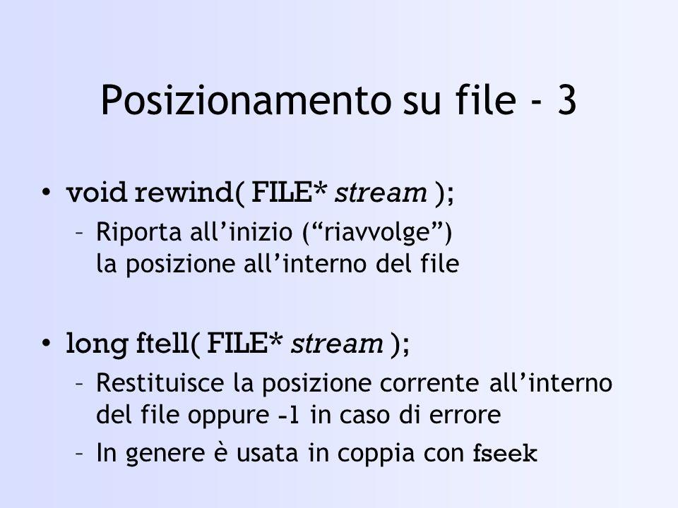 Posizionamento su file - 3