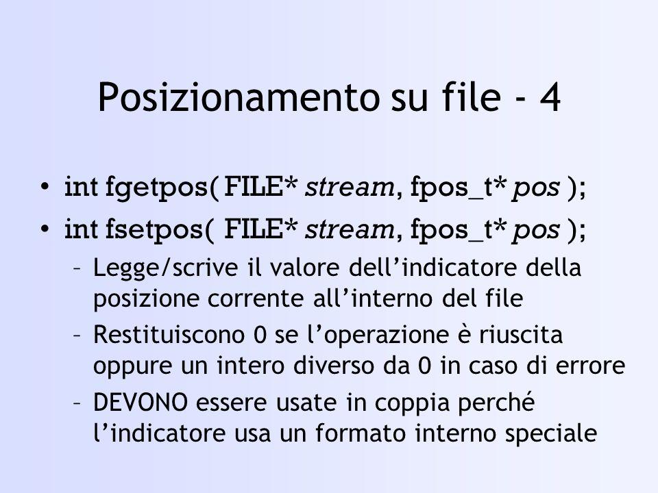Posizionamento su file - 4