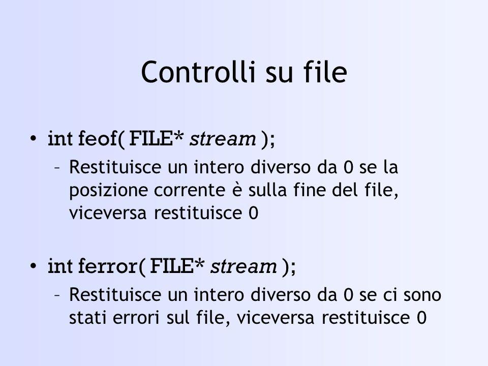 Controlli su file int feof( FILE* stream );