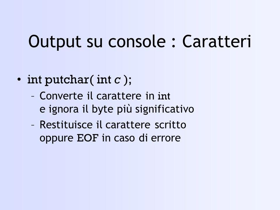 Output su console : Caratteri