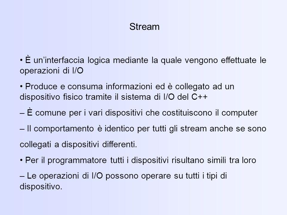 Stream • È un'interfaccia logica mediante la quale vengono effettuate le operazioni di I/O.