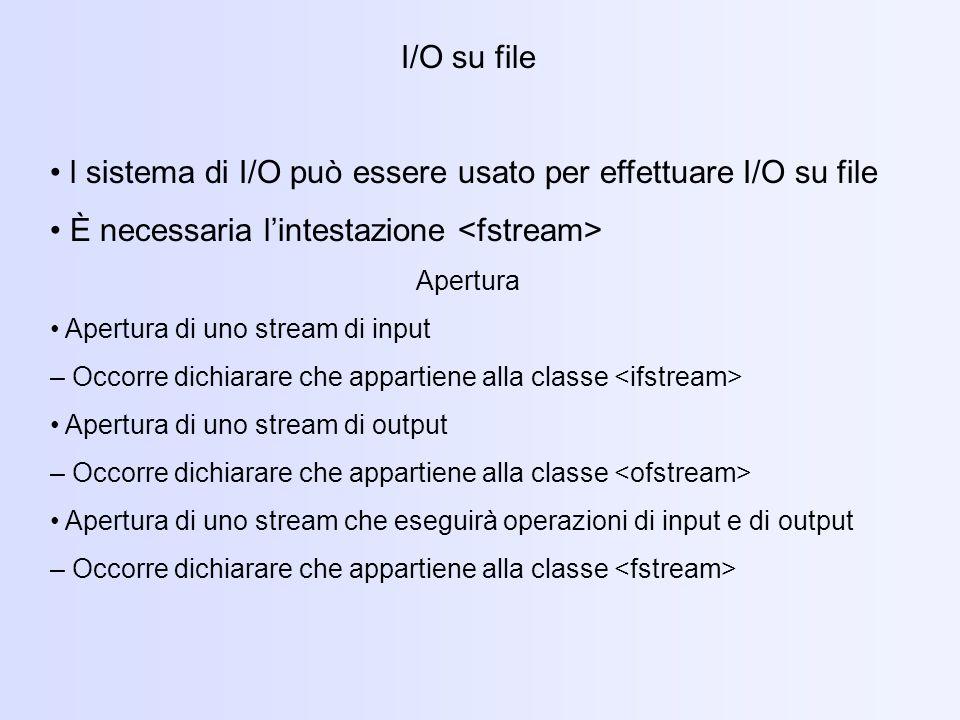 • l sistema di I/O può essere usato per effettuare I/O su file
