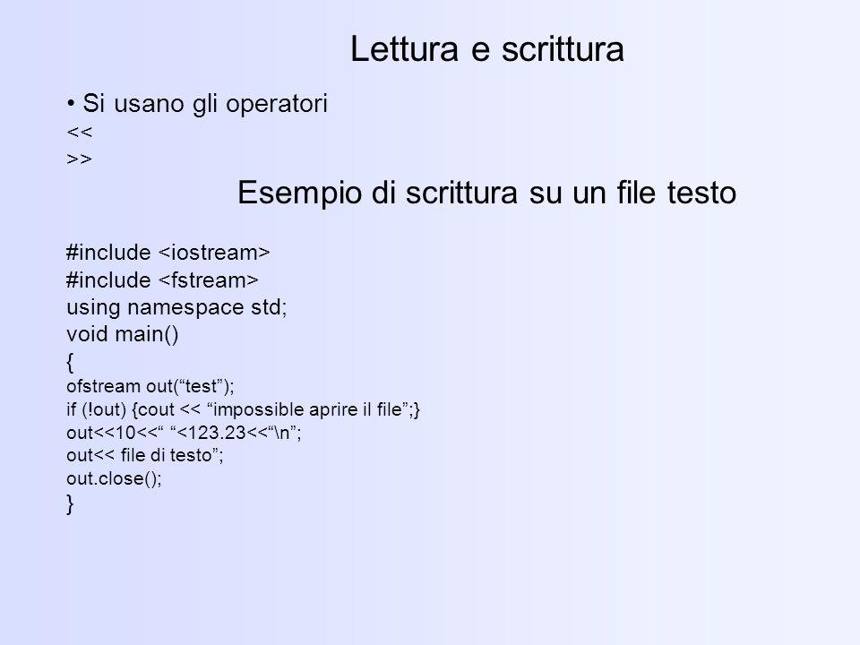 Esempio di scrittura su un file testo