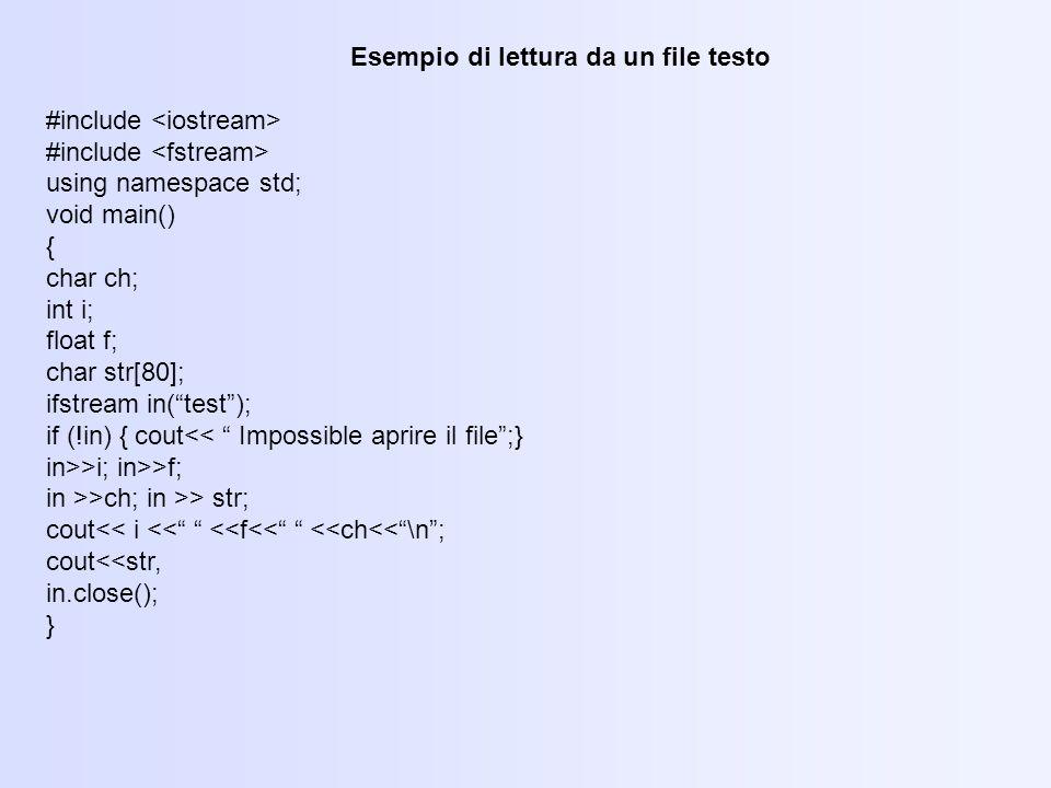 Esempio di lettura da un file testo