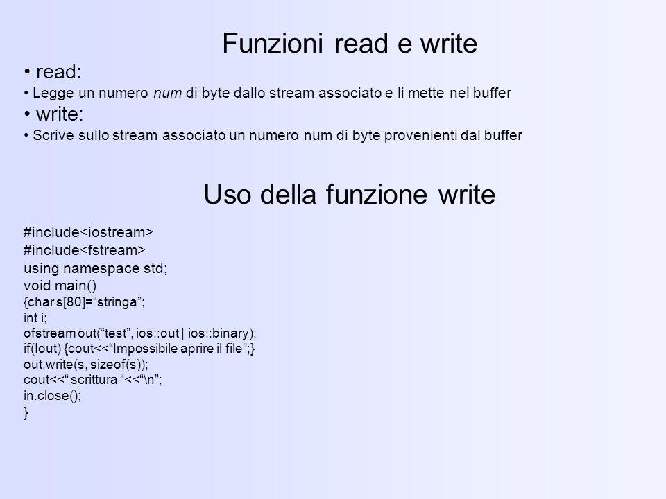 Uso della funzione write