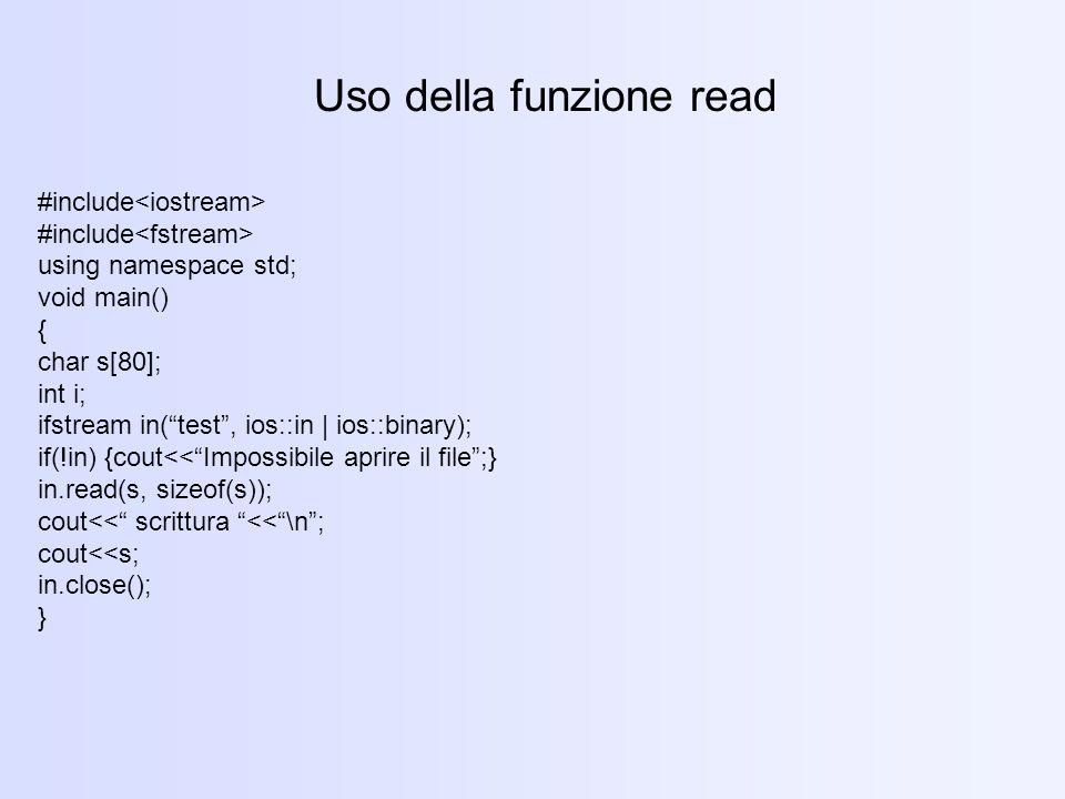 Uso della funzione read