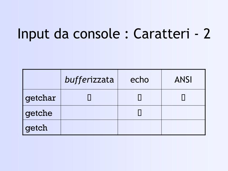 Input da console : Caratteri - 2
