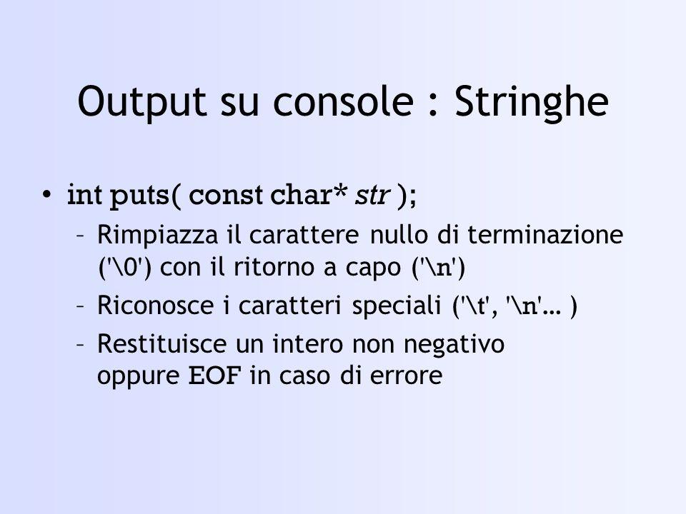 Output su console : Stringhe