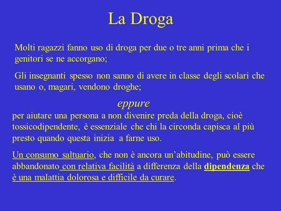 La Droga Molti ragazzi fanno uso di droga per due o tre anni prima che i genitori se ne accorgano;