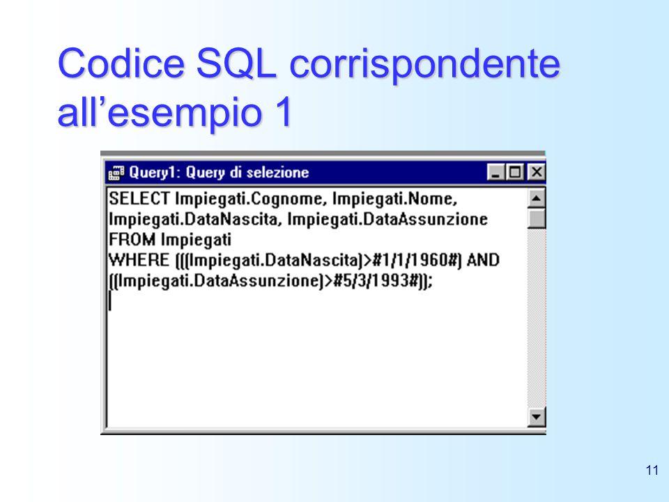 Codice SQL corrispondente all'esempio 1