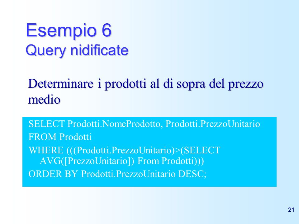 Esempio 6 Query nidificate