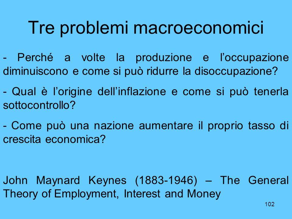 Tre problemi macroeconomici