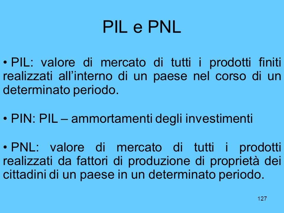 PIL e PNL PIL: valore di mercato di tutti i prodotti finiti realizzati all'interno di un paese nel corso di un determinato periodo.