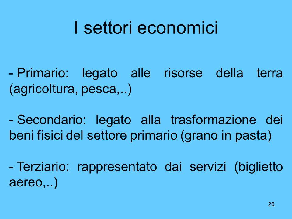 I settori economici Primario: legato alle risorse della terra (agricoltura, pesca,..)