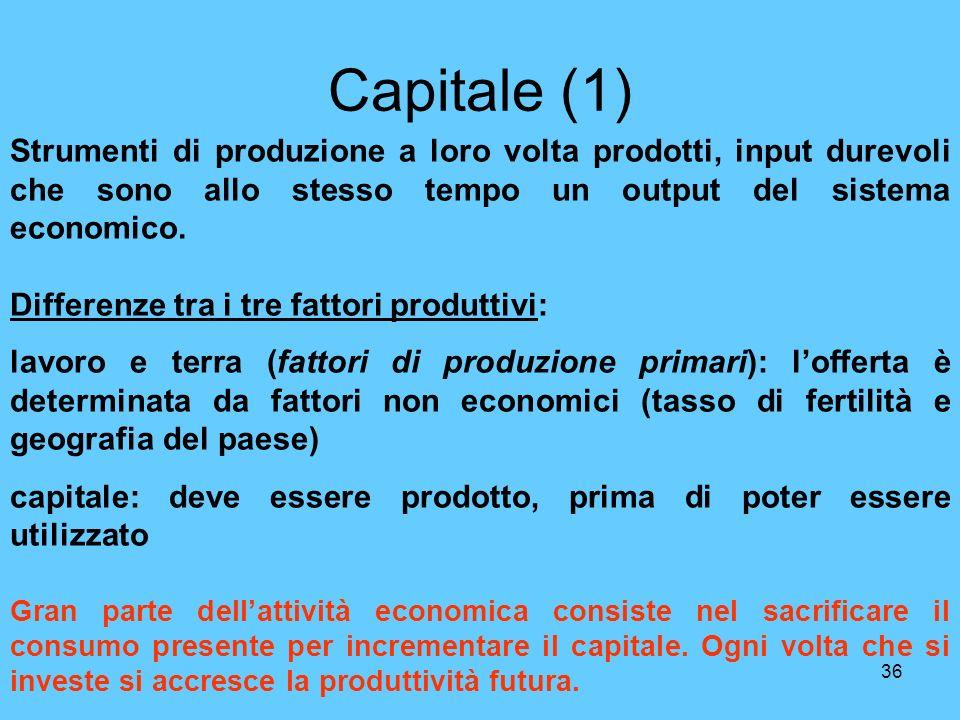 Capitale (1) Strumenti di produzione a loro volta prodotti, input durevoli che sono allo stesso tempo un output del sistema economico.