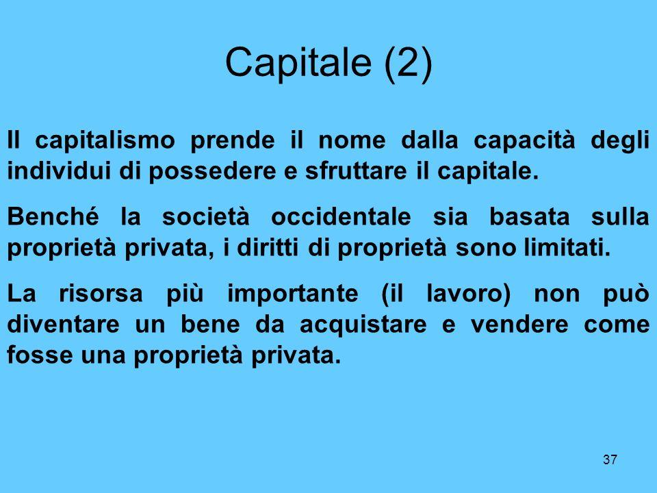 Capitale (2) Il capitalismo prende il nome dalla capacità degli individui di possedere e sfruttare il capitale.