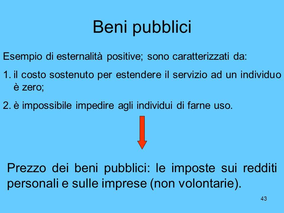 Beni pubblici Esempio di esternalità positive; sono caratterizzati da: il costo sostenuto per estendere il servizio ad un individuo è zero;