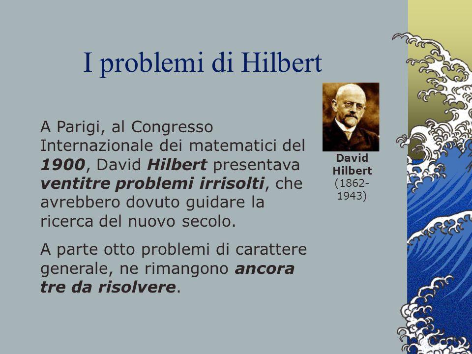 I problemi di Hilbert David Hilbert (1862-1943)