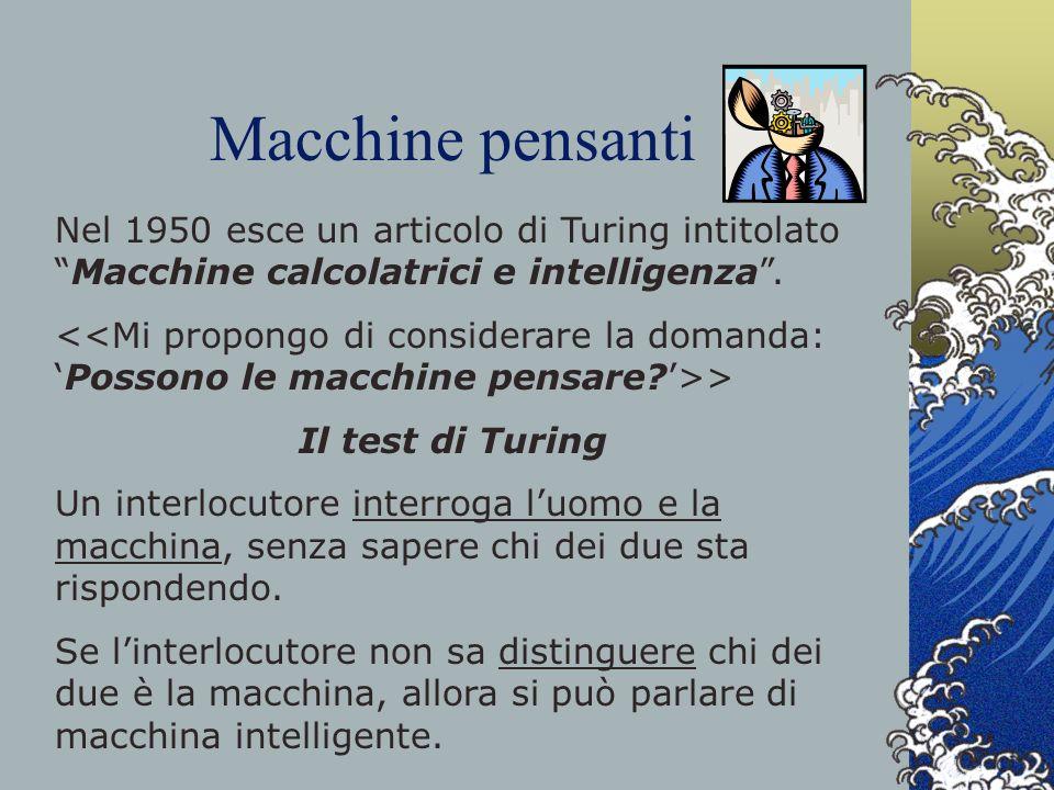 Macchine pensanti Nel 1950 esce un articolo di Turing intitolato Macchine calcolatrici e intelligenza .