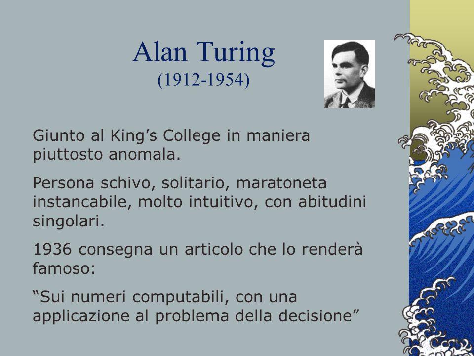 Alan Turing (1912-1954) Giunto al King's College in maniera piuttosto anomala.