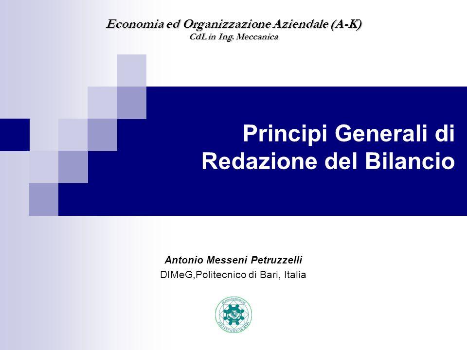 Principi Generali di Redazione del Bilancio