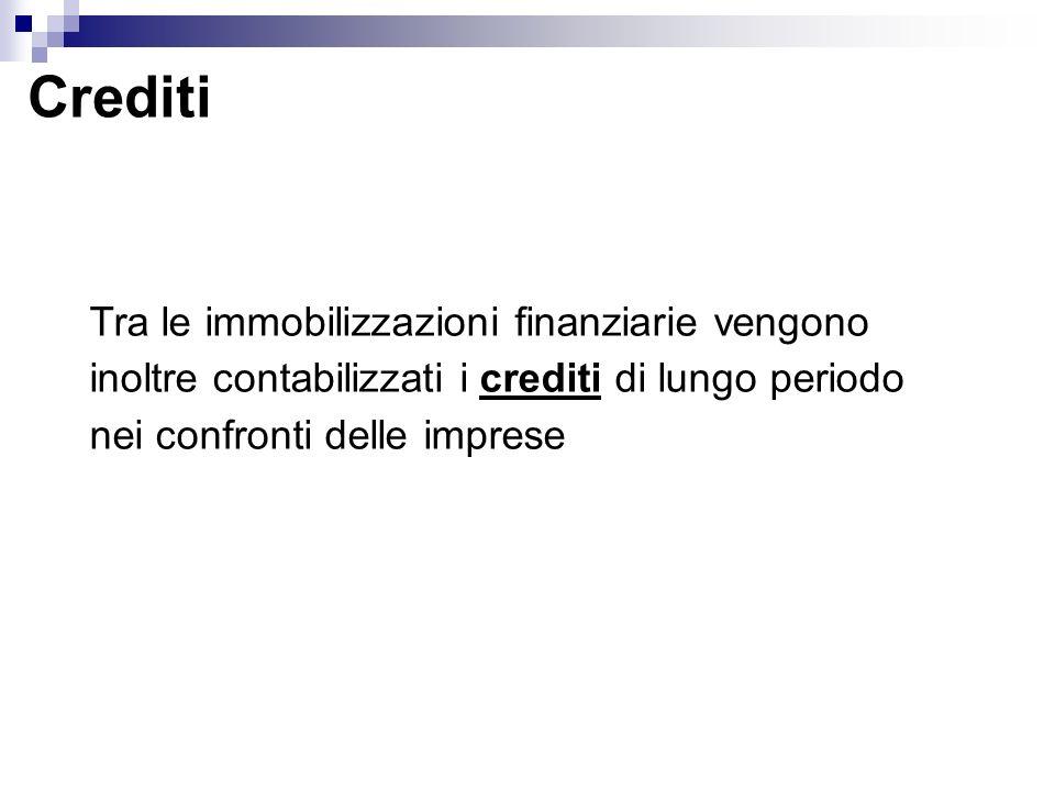 Crediti Tra le immobilizzazioni finanziarie vengono inoltre contabilizzati i crediti di lungo periodo nei confronti delle imprese.