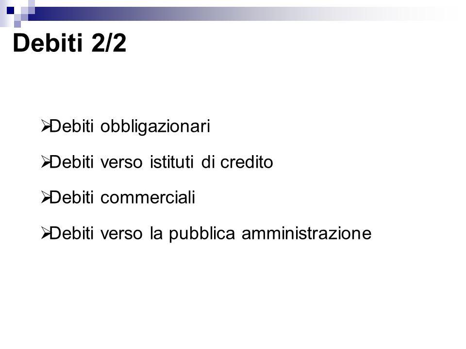Debiti 2/2 Debiti obbligazionari Debiti verso istituti di credito