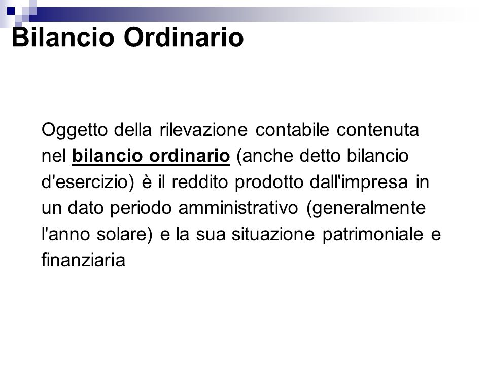 Bilancio Ordinario