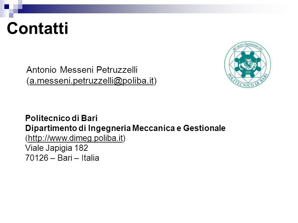 Contatti Antonio Messeni Petruzzelli (a.messeni.petruzzelli@poliba.it)