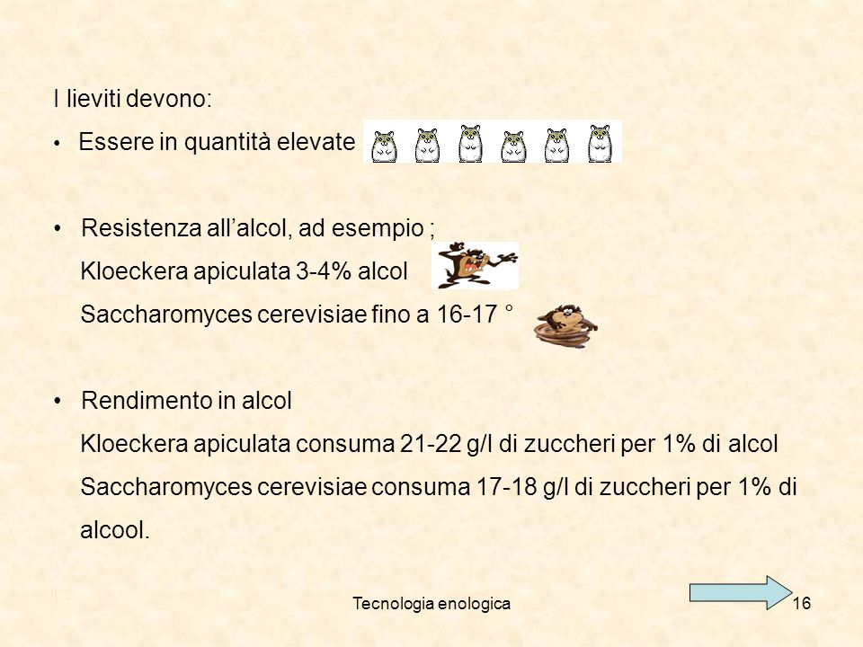 Resistenza all'alcol, ad esempio ; Kloeckera apiculata 3-4% alcol