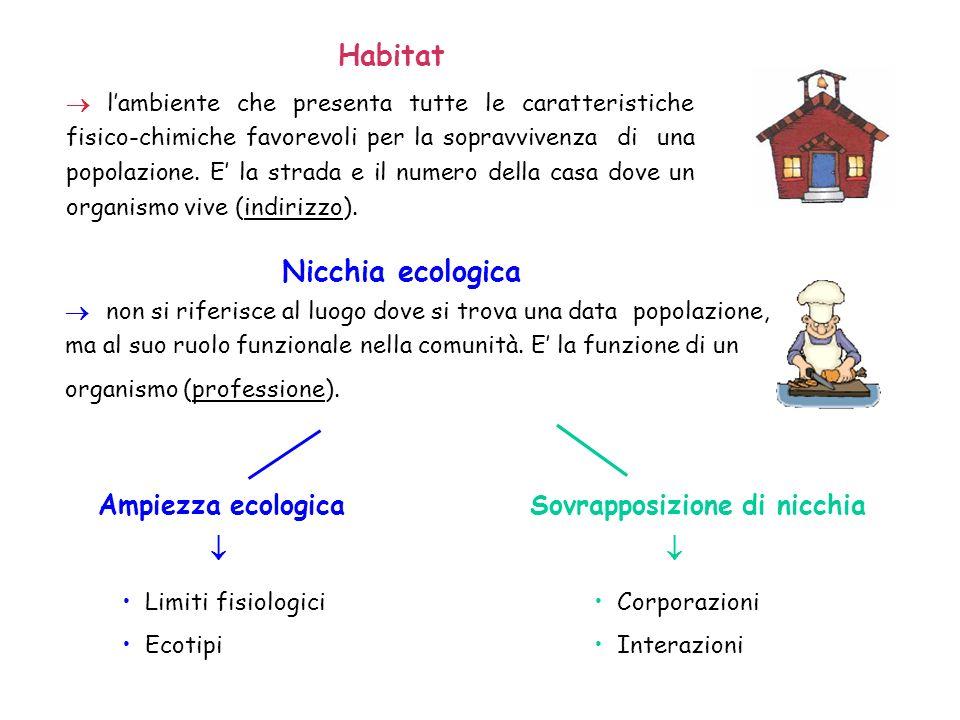 Habitat Nicchia ecologica Ampiezza ecologica