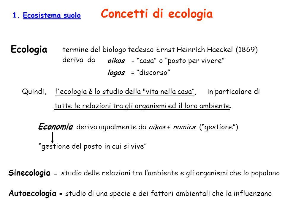 1. Ecosistema suolo Concetti di ecologia