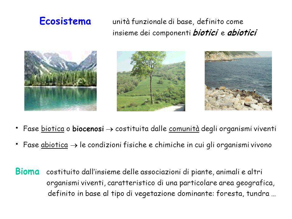 Ecosistema unità funzionale di base, definito come. insieme dei componenti biotici e abiotici.