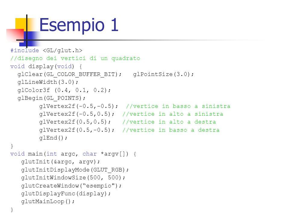 Esempio 1 #include <GL/glut.h>