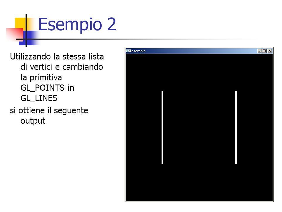 Esempio 2 Utilizzando la stessa lista di vertici e cambiando la primitiva GL_POINTS in GL_LINES.