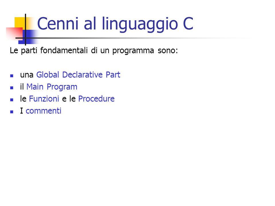 Cenni al linguaggio C Le parti fondamentali di un programma sono:
