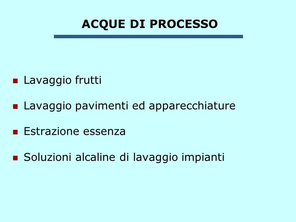 ACQUE DI PROCESSO Lavaggio frutti