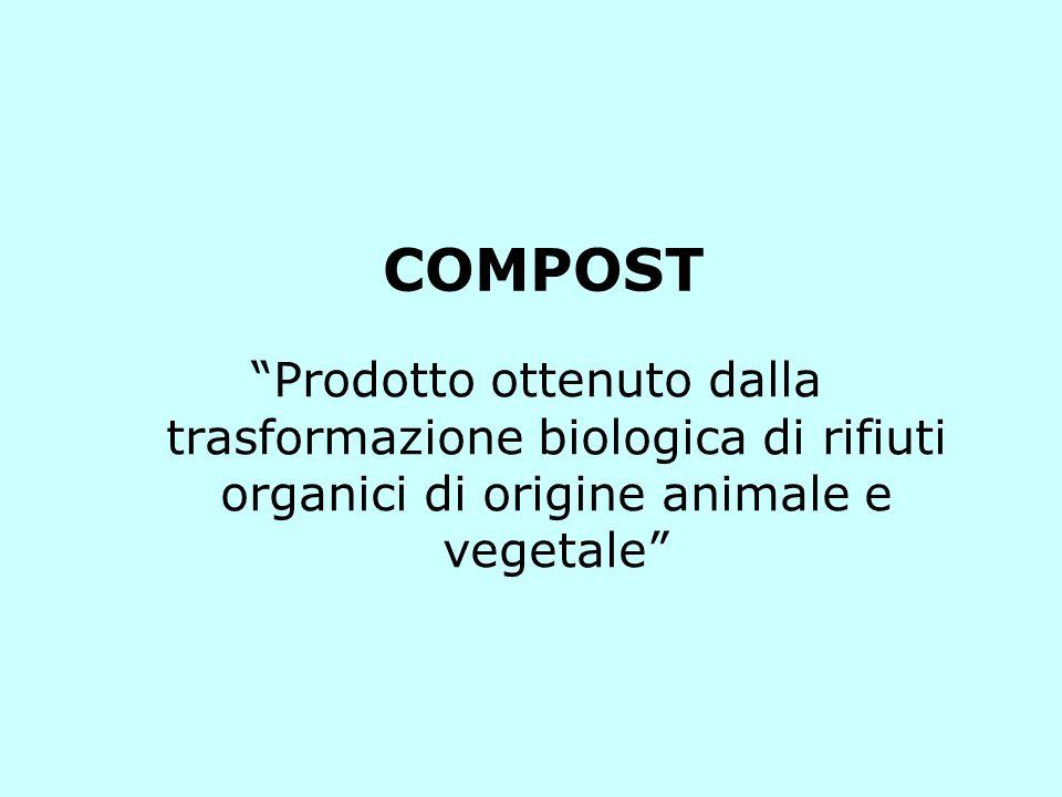 COMPOST Prodotto ottenuto dalla trasformazione biologica di rifiuti organici di origine animale e vegetale