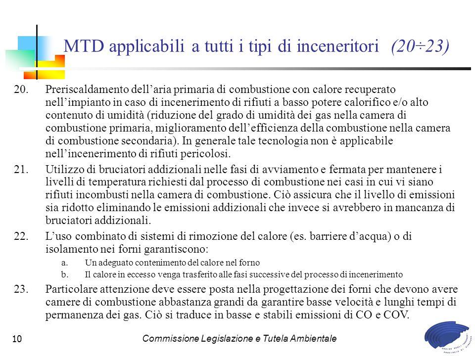 MTD applicabili a tutti i tipi di inceneritori (20÷23)