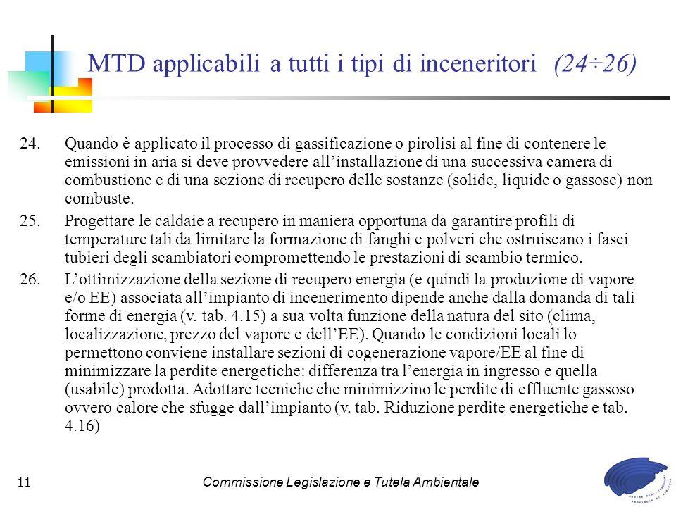 MTD applicabili a tutti i tipi di inceneritori (24÷26)