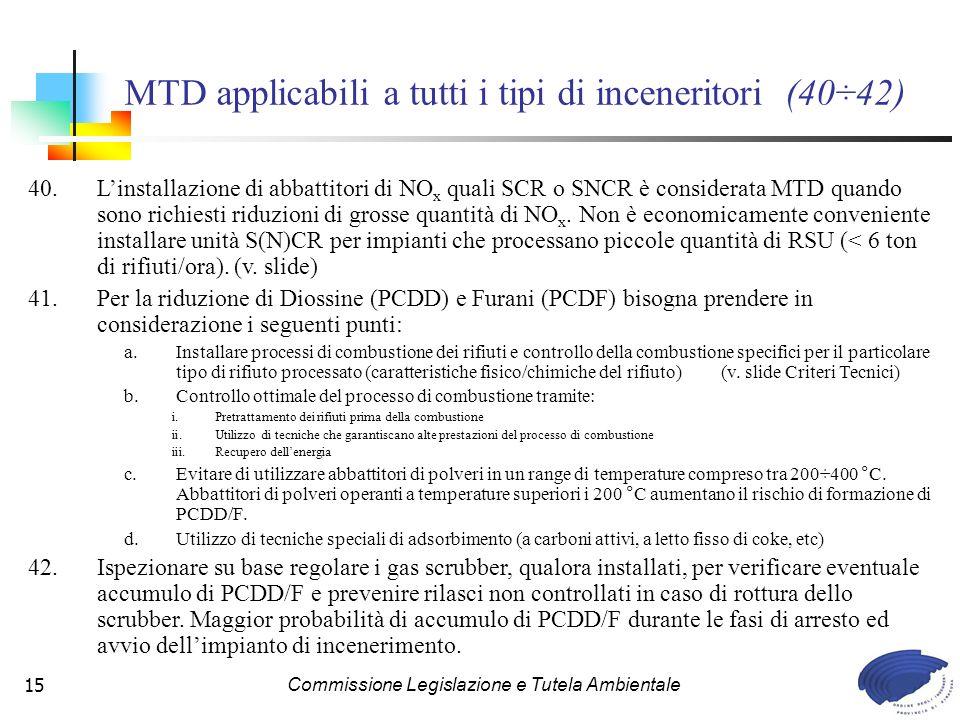 MTD applicabili a tutti i tipi di inceneritori (40÷42)