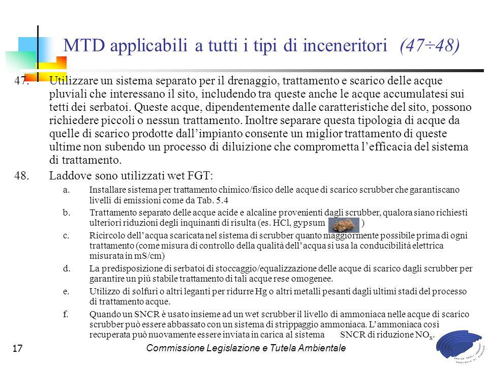 MTD applicabili a tutti i tipi di inceneritori (47÷48)