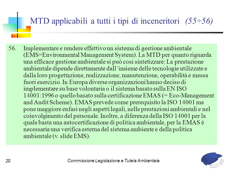 MTD applicabili a tutti i tipi di inceneritori (55÷56)