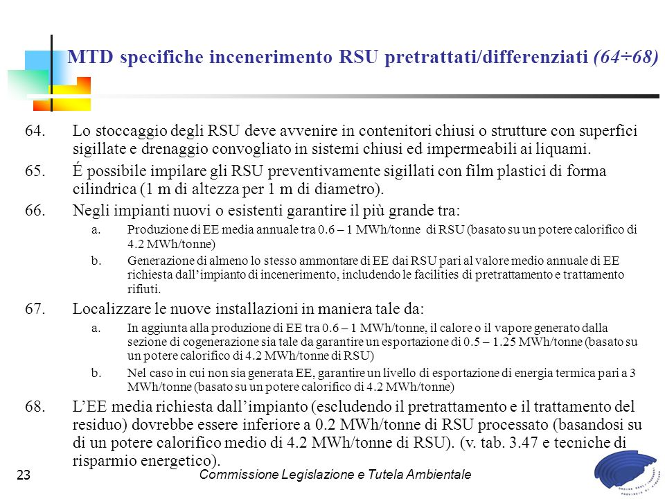 MTD specifiche incenerimento RSU pretrattati/differenziati (64÷68)
