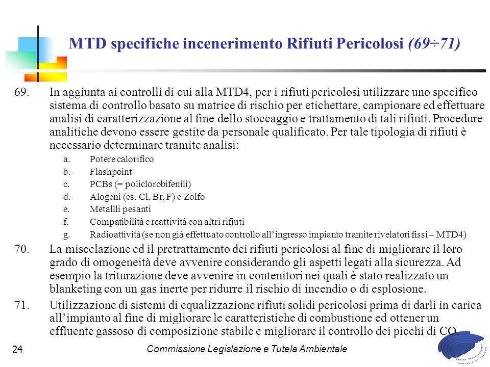 MTD specifiche incenerimento Rifiuti Pericolosi (69÷71)