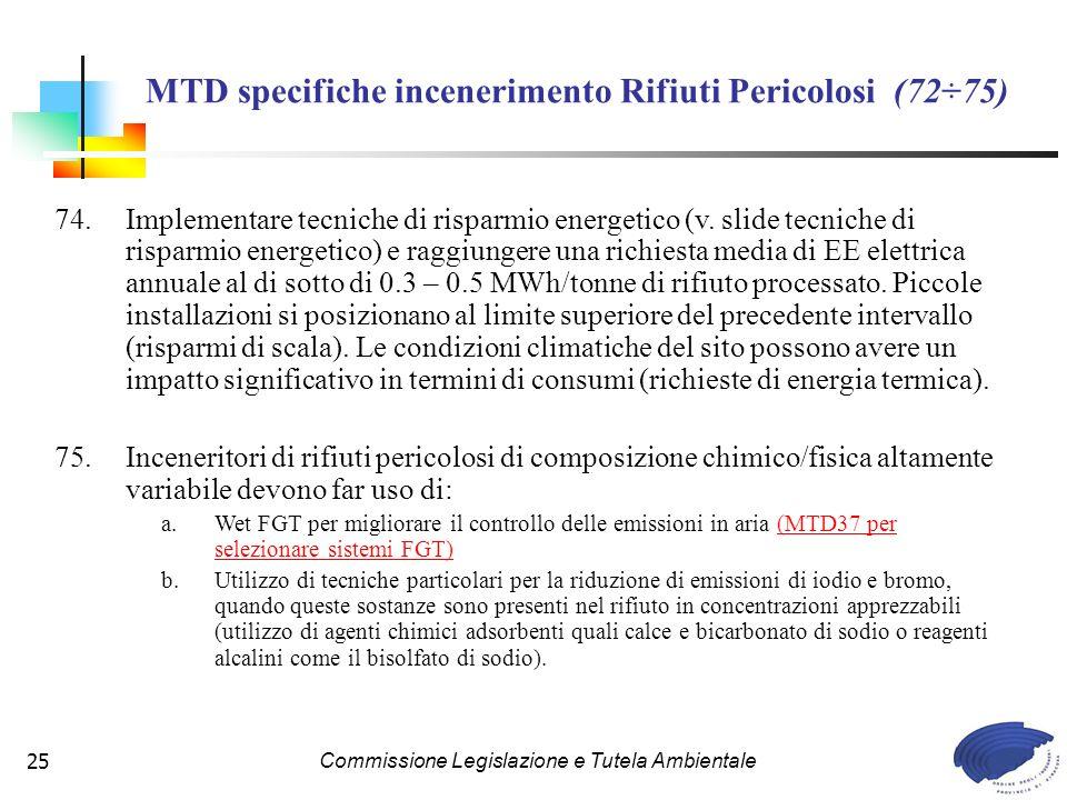 MTD specifiche incenerimento Rifiuti Pericolosi (72÷75)