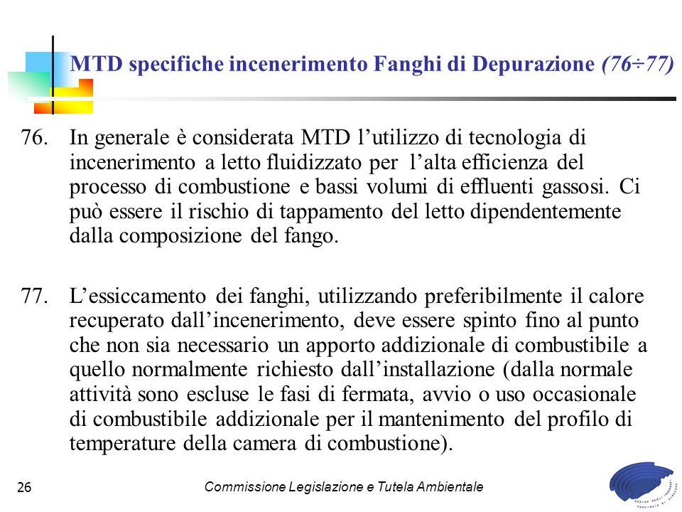 MTD specifiche incenerimento Fanghi di Depurazione (76÷77)