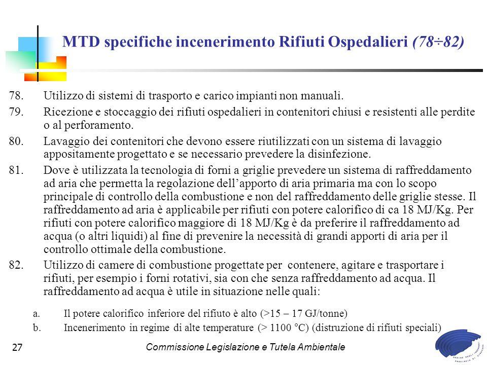 MTD specifiche incenerimento Rifiuti Ospedalieri (78÷82)